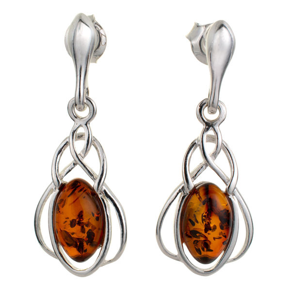 "Sterling Silver and Baltic Honey Amber Earrings ""Zara"""