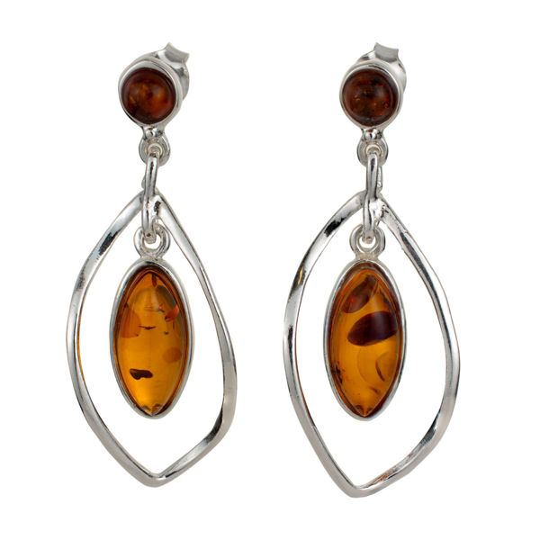 "Sterling Silver and Baltic Honey Amber Earrings ""Sandra"""