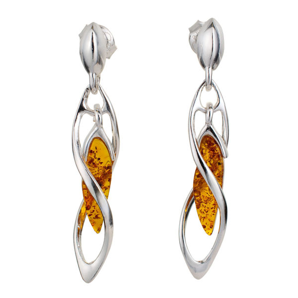 "Sterling Silver and Baltic Honey Amber Earrings ""Ivy"""
