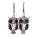 Sterling Silver and Baltic Amber French Lever Back  Owl Earrings