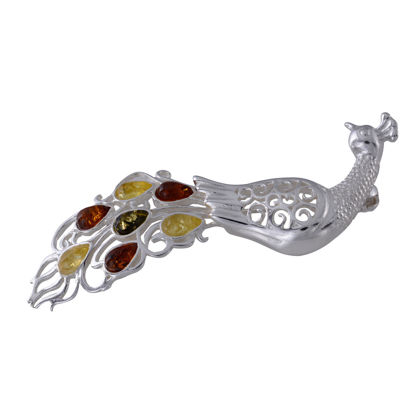 Sterling Silver and Baltic Multicolored Amber Peacock Brooch