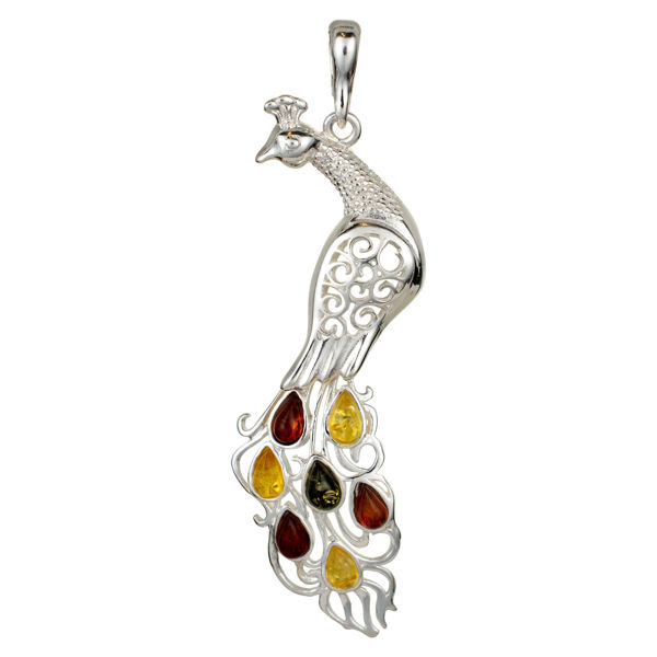 Sterling Silver and Baltic  Multicolored Amber Peacock Pendant