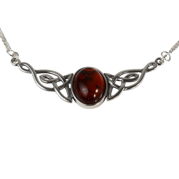 Sterling Silver and Baltic Honey Amber Celtic Knots Necklace
