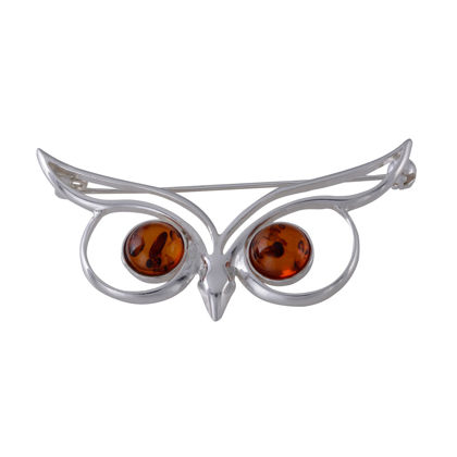 Sterling Silver and Baltic Honey Amber Owl Brooch
