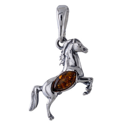 Sterling Silver and Baltic  Honey Amber Horse Pendant