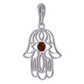 Sterling Silver and Baltic  Honey Amber Hamsa Hand Pendant