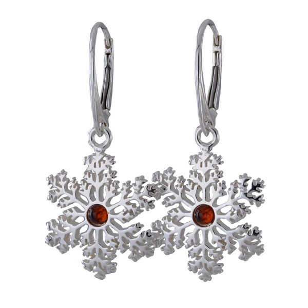 Sterling Silver and Baltic Amber French Lever Back Snowflake Earrings