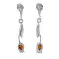 Sterling Silver and Baltic  Honey Amber Post Back Tulip Earrings