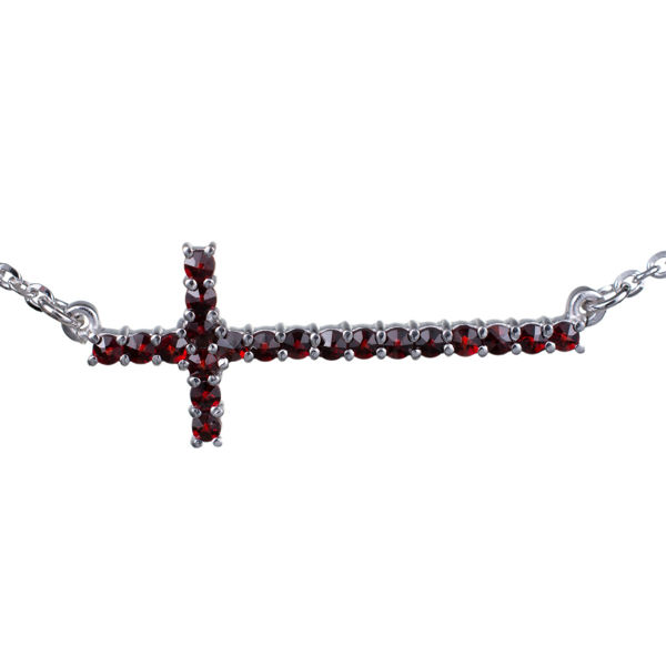 Bohemian Garnet Cross Necklace