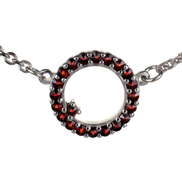 Bohemian Garnet Circle Necklace