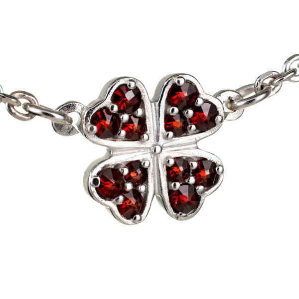 Bohemian Garnet Four Leaf Clover Necklace