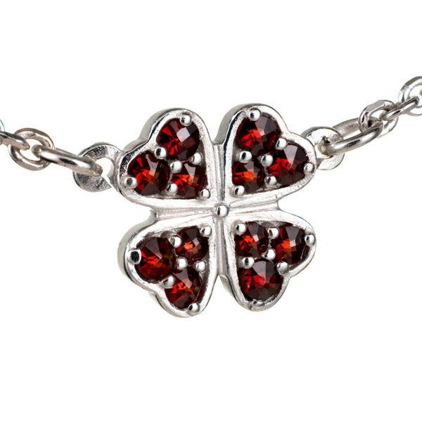 Bohemian Garnet Four Leaf Clover Necklace