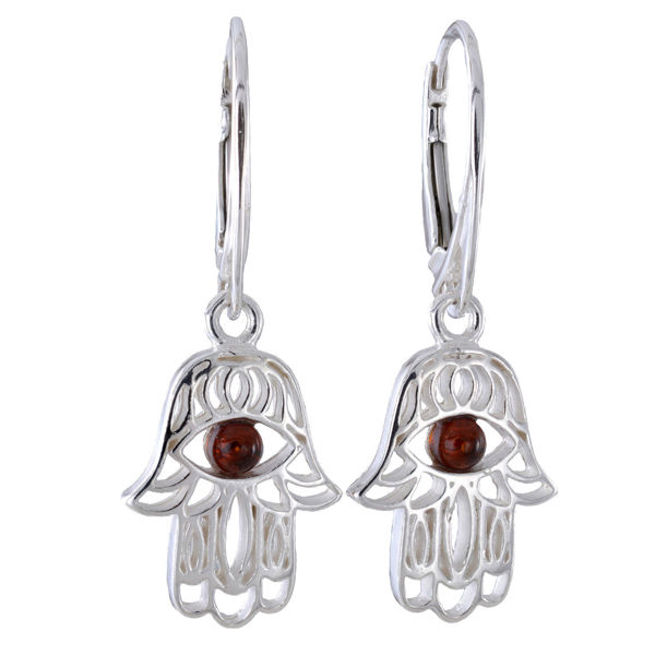 Sterling Silver and Baltic Amber French Lever Back  Amber Hamsa Hand Earrings