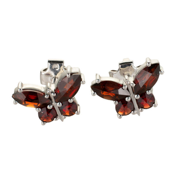 Bohemian Garnet Sterling Silver Butterflies Earrings