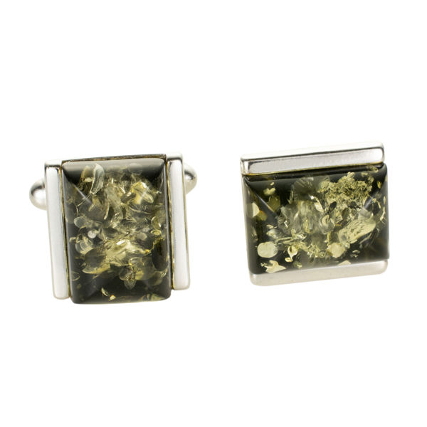 Sterling Silver and Baltic Green Amber Rectangle Cufflinks