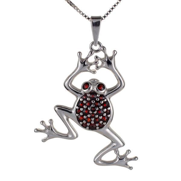 Bohemian Garnet Sterling Silver Frog Pendant