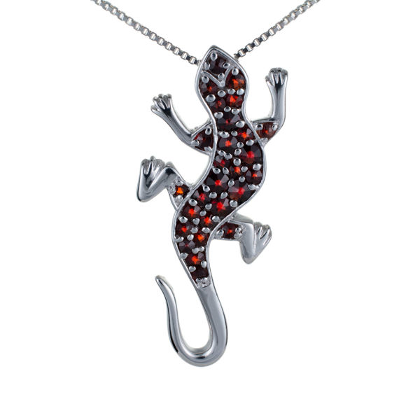 Bohemian Garnet Sterling Silver Lizard Pendant