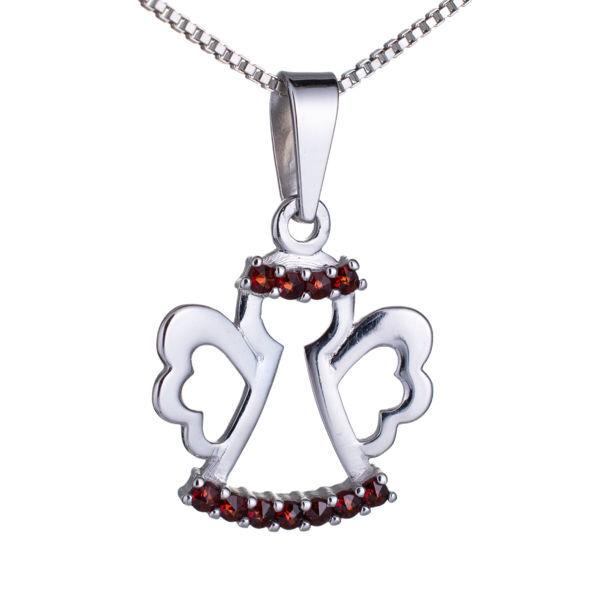 Bohemian Garnet Sterling Silver Angel Pendant