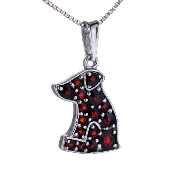 Bohemian Garnet Sterling Silver Dog Pendant