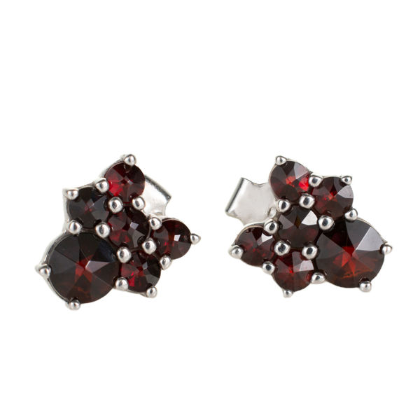 Bohemian Garnet Push Back Earrings