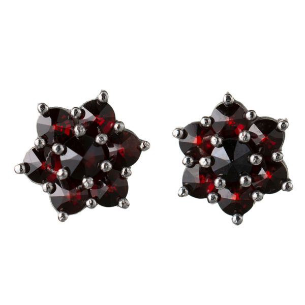 Bohemian Garnet Floral Stud Earrings