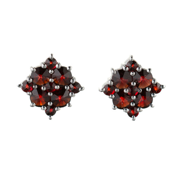 Bohemian Garnet Square Stud Earrings