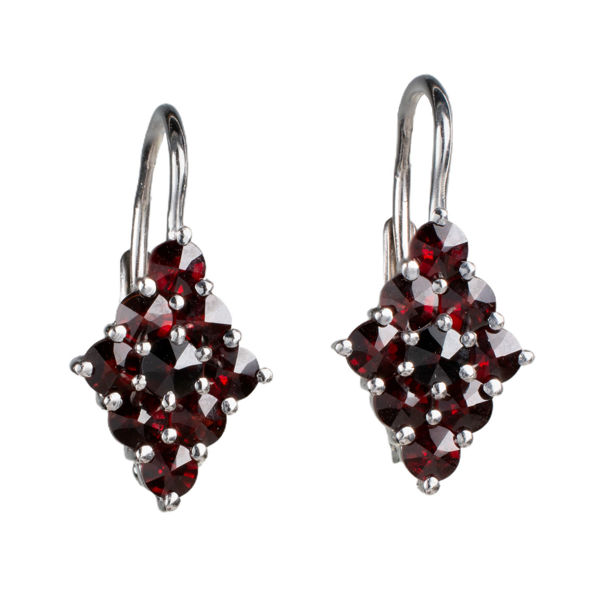 Bohemian Garnet Diamond Rhombus Earrings