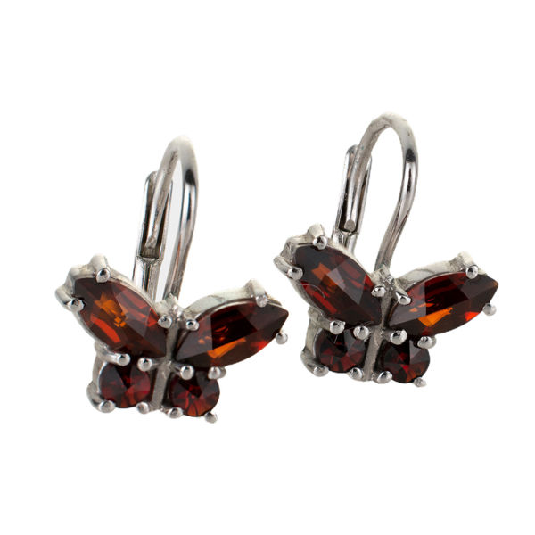 Bohemian Garnet Sterling Silver Lever Back Butterflies Earrings