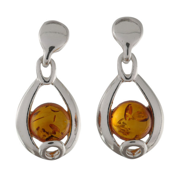"Sterling Silver and Baltic Honey Amber Earrings ""Peyton"""