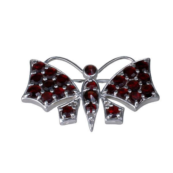 Bohemian Garnet Sterling Silver Butterfly Brooch