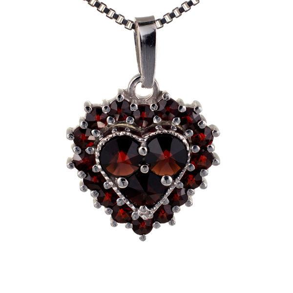 Bohemian Garnet Sterling Silver Heart Pendant