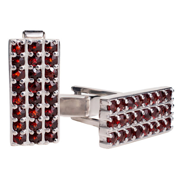 Bohemian Garnet Sterling Silver Rectangle Cufflinks