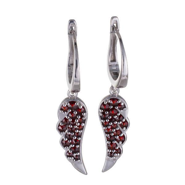 Bohemian Garnet Sterling Silver Angel Wing Earrings