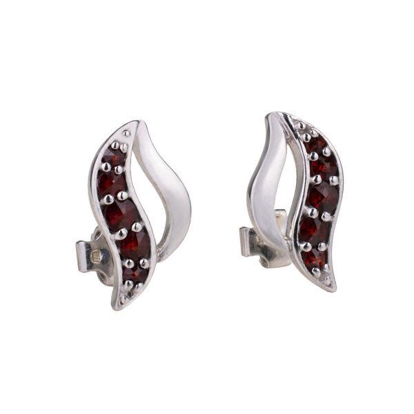 Bohemian Garnet Post Back  Wave Earrings