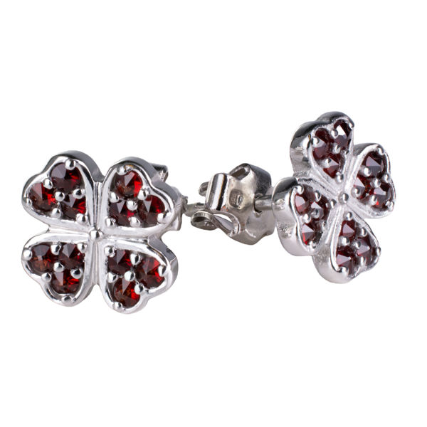 Bohemian Garnet Post Back  Clover Earrings