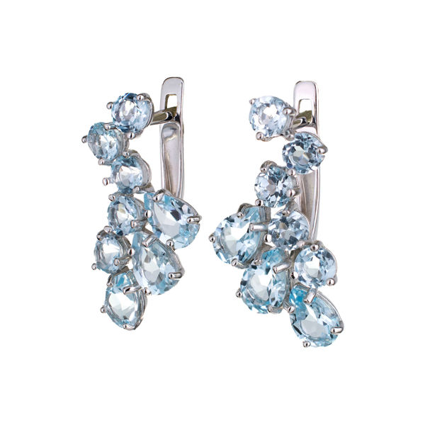 Sterling Silver Blue Topaz English Lock Earrings