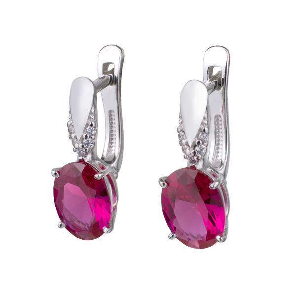 Sterling Silver Lab Created Ruby and Cubic Zirconia English Lock Earrings