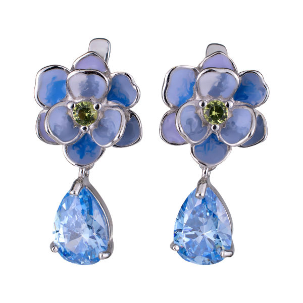 Sterling Silver Blue Enamel and Cubic Zirconia English Lock Flower Earrings