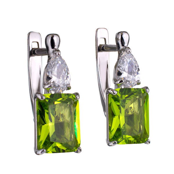 Sterling Silver Octangle Lab Created Peridot English Lock Earrings