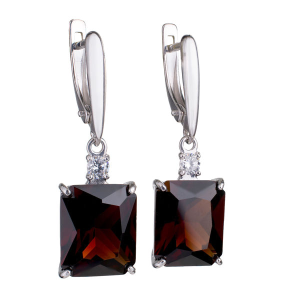 Sterling Silver Octangle Lab Created Garnet English Lock Dangle Earrings