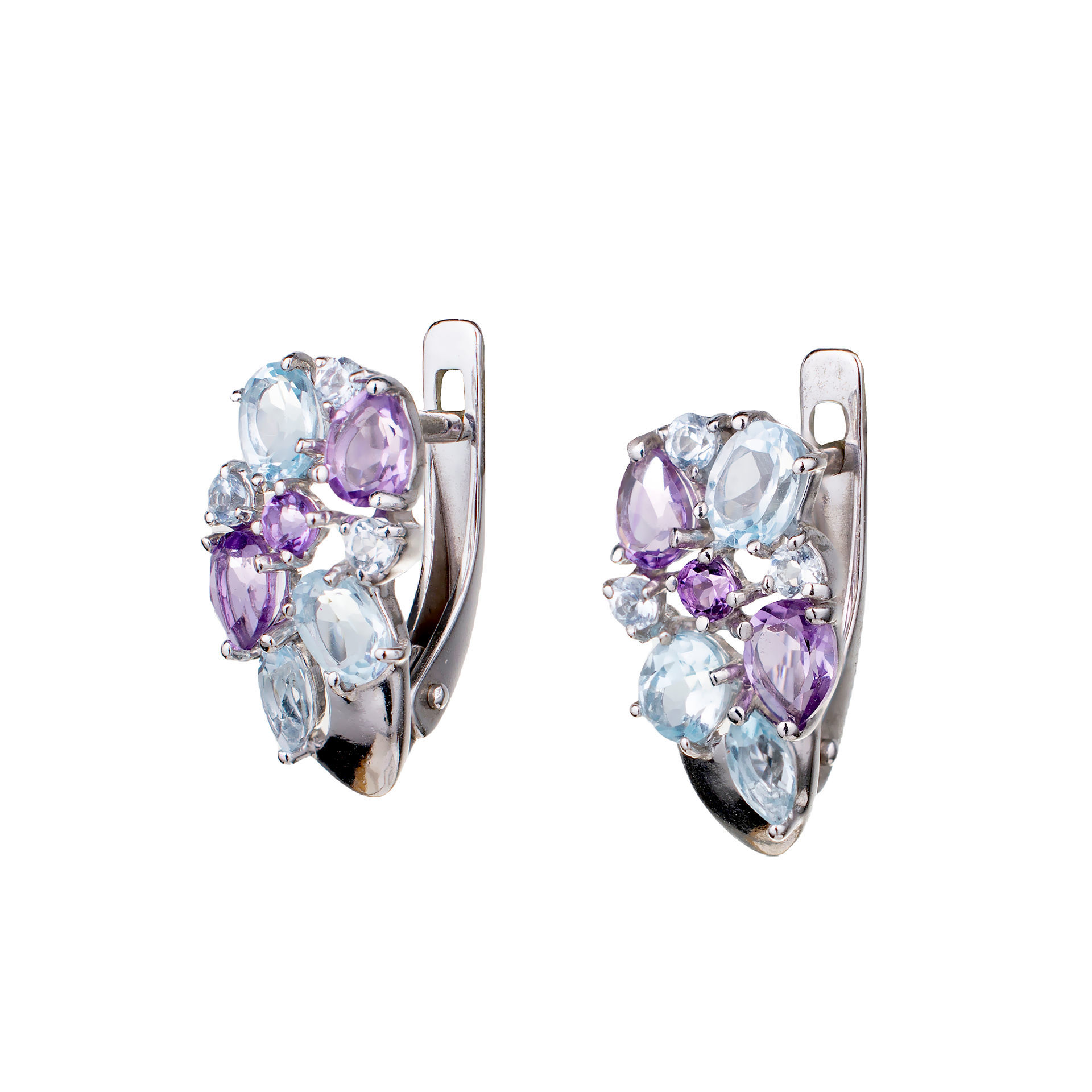 925 Silver Amethyst and Blue Topaz Stud Earrings Set of 2