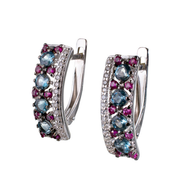 Sterling Silver Blue Topaz and Lab Created Ruby English Lock Earrings
