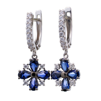 Sterling Silver Lab Created Sapphire and Cubic Zirconia Dangle English Lock Earrings