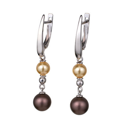 Sterling Silver Crystal Pearls Dangle English Lock Earrings
