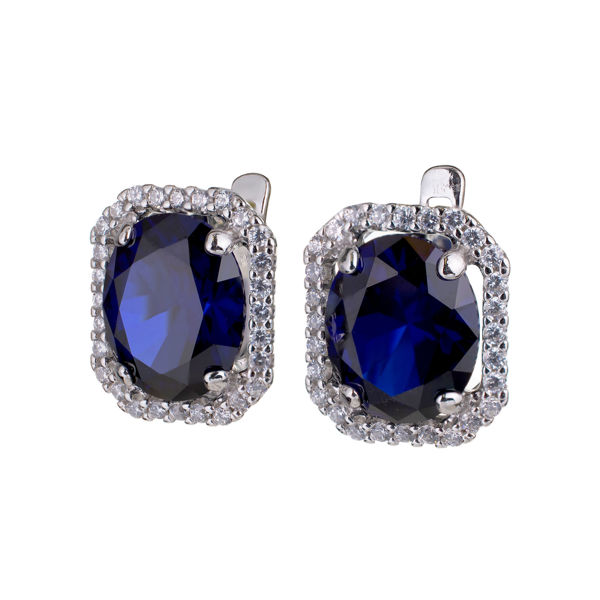 Sterling Silver Lab Created Sapphire And Cubic Zirconia English Lock Earrings