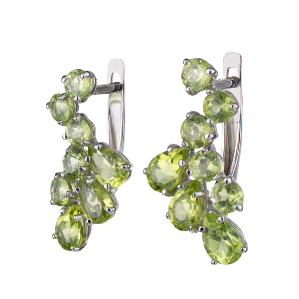 Sterling Silver Peridot English Lock Earrings