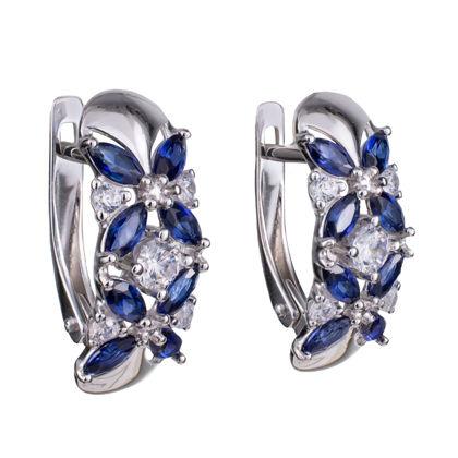 Sterling Silver Lab Created Sapphire Cubic Zirconia English Lock Earrings