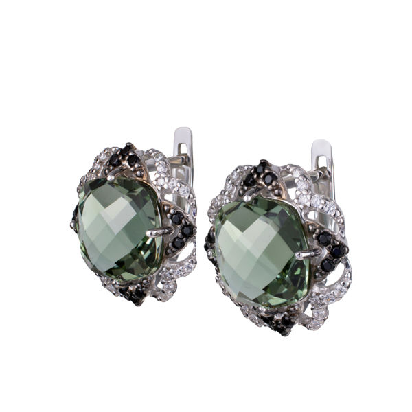 Sterling Silver Lab Created Quartz Cubic Zirconia English Lock Earrings