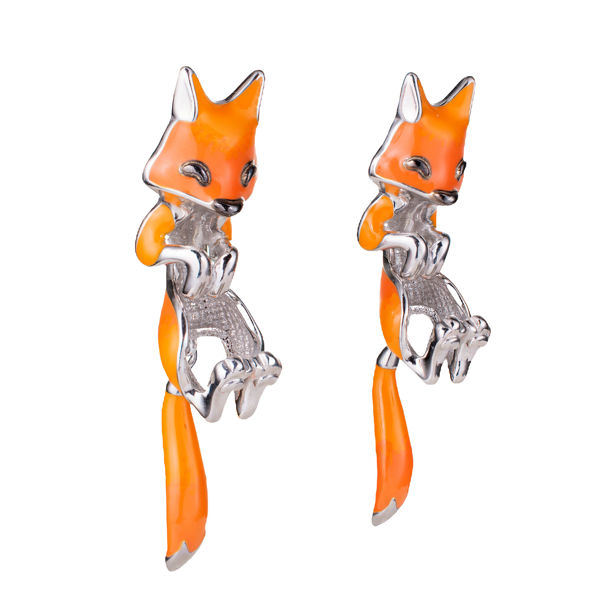 Sterling Silver Enamel Screw Back Fox  Earrings Jackets