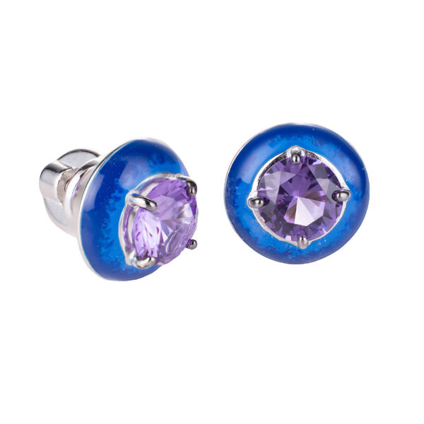 Sterling Silver Lab Created Amethyst and Blue Enamel Screw Back Earrings